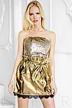Эффектная короткая юбка из эко-кожи золотистая, фото 3