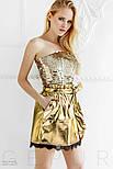 Эффектная короткая юбка из эко-кожи золотистая, фото 4
