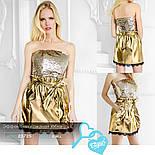 Эффектная короткая юбка из эко-кожи золотистая, фото 6