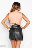 Короткая юбка трапеция из эко-кожи черная, фото 3