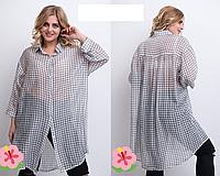 Летняя женская рубашка длинная,  с 52-66 размер, фото 1
