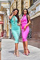 Женское силуэтное платье со шнуровкой на груди в расцветках. А-2-0619