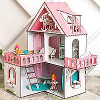 """Кукольный домик для Лол NestWood """"РОЗОВЫЙ МИНИ КОТТЕДЖ"""", 5 комнат (этаж 20см), без мебели"""