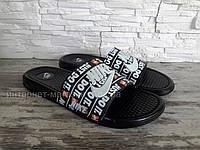 Мужские шлепанцы в стиле Nike (черно-белые),  44
