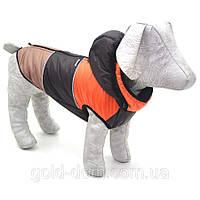 Жилет Трио с капюшоном для собак коричневый йорк128х40