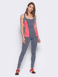 Спортивний костюм Issa Plus 9529 штани і майка сірий з рожевим
