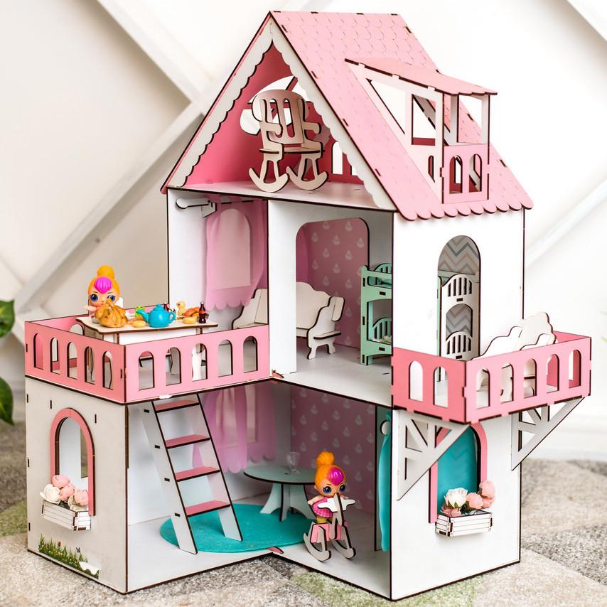"""Кукольный домик для Лол NestWood """"РОЗОВЫЙ МИНИ КОТТЕДЖ"""", 5 комнат (этаж 20 см) + Мебель 9 единиц"""