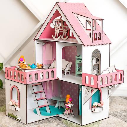 """Кукольный домик для Лол NestWood """"РОЗОВЫЙ МИНИ КОТТЕДЖ"""", 5 комнат (этаж 20 см) + Мебель 9 единиц, фото 2"""