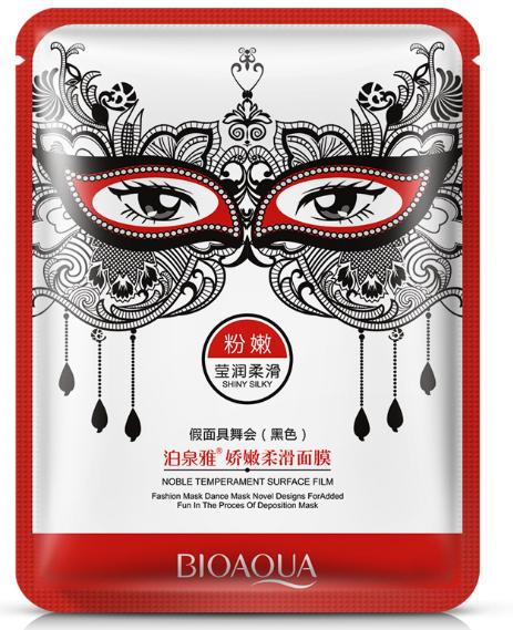Маска для лица выравнивающая карнавальная черная BIOAQUA Noble Temperament Surface Film Shiny Silky (30г)