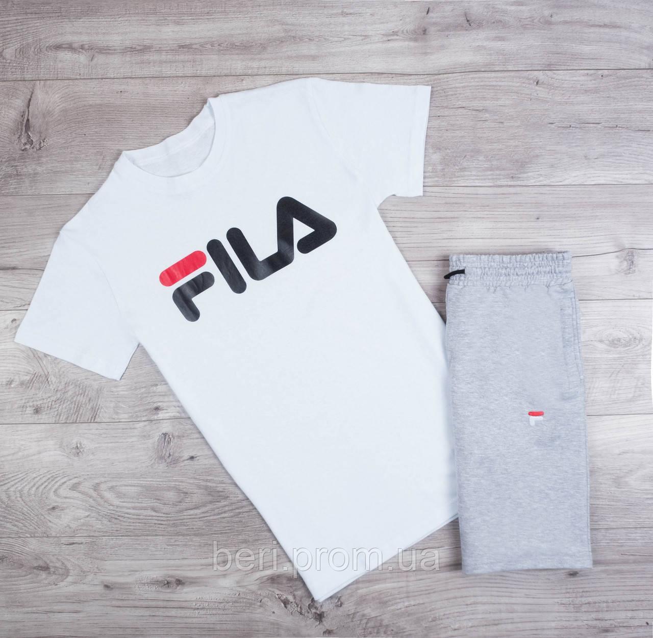 bf3068dd Мужской летний спортивный костюм, комплект шорты и футболка Fila | Фила,  Філа (Бело