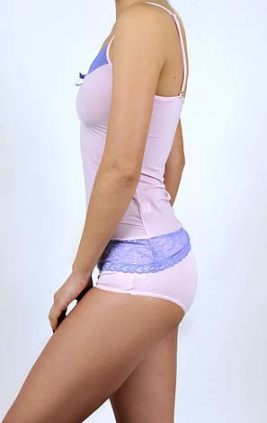 Майка женская с кружевом C+3 009 XL Розовая с фиолетовым, фото 2
