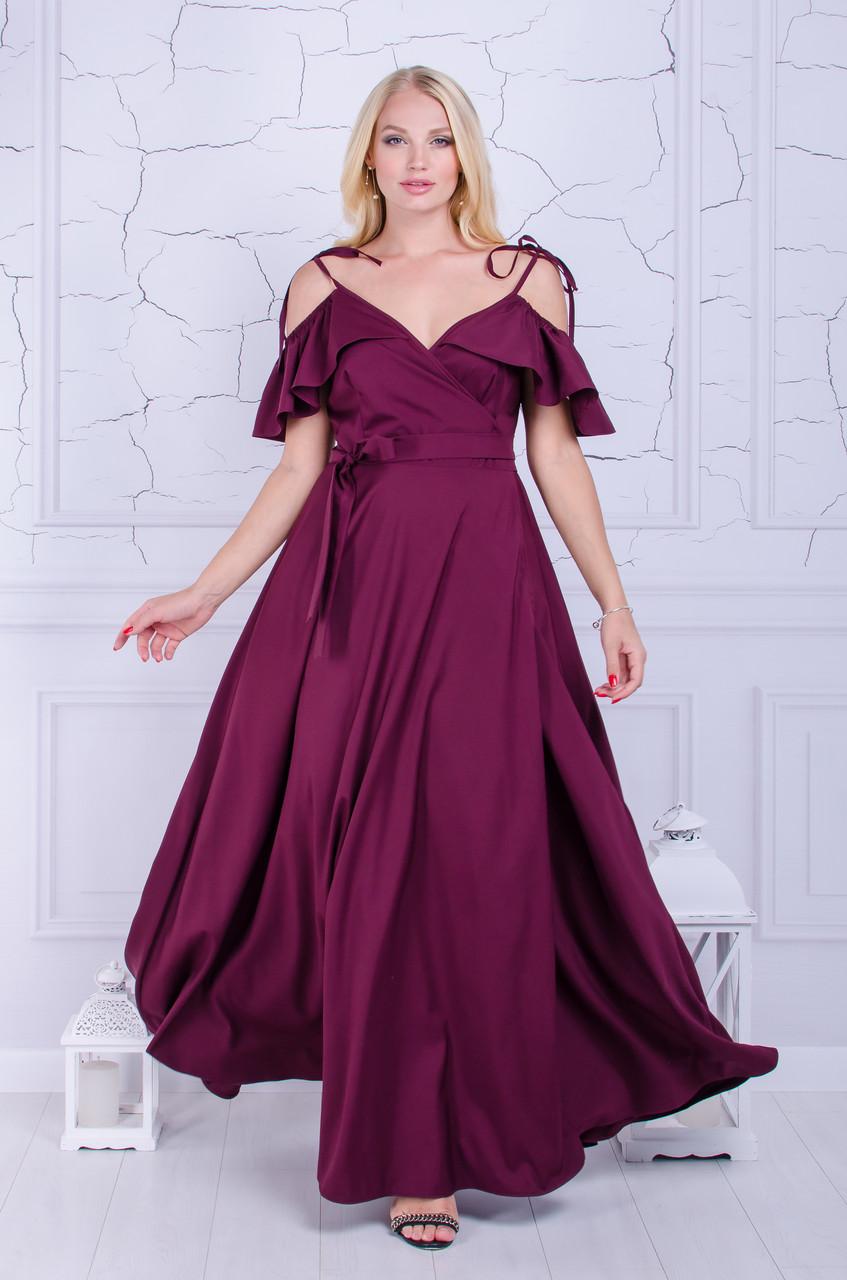 Нарядное платье в пол размер плюс Серсея марсала  (50-60)