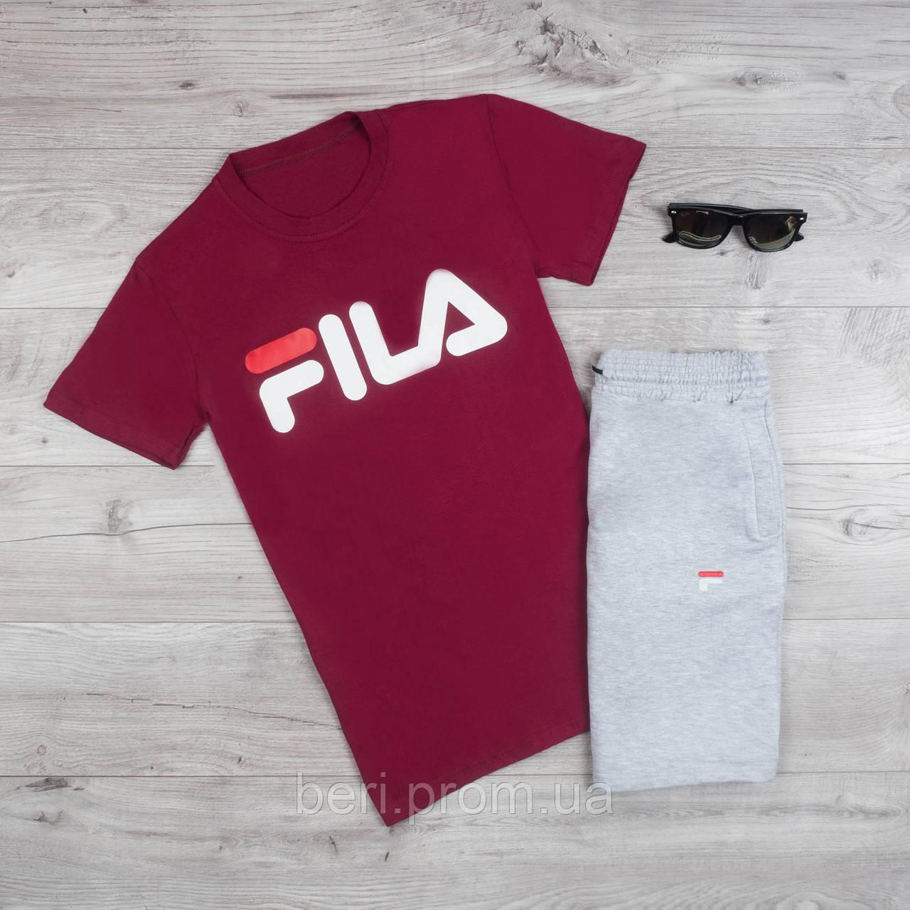 4f08287c Мужской летний спортивный костюм, комплект шорты и футболка Fila | Фила,  Філа (Бордово