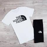 Мужской летний спортивный костюм, комплект шорты и футболка The North Face | Норз Фейс (Бело-Черный), фото 2