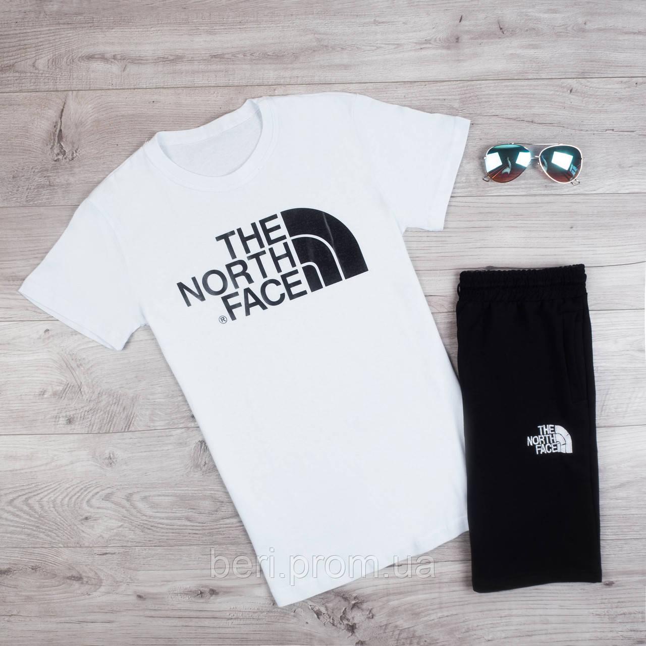 Мужской летний спортивный костюм, комплект шорты и футболка The North Face | Норз Фейс (Бело-Черный)