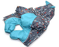 Комбинезон с капюшоном для собак Амур на подкладке omni-heat серый+бирюза йорк2 34х46, фото 1