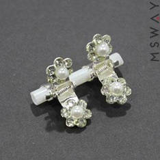 KATTi Краб для волос 28 100 мини металл серебро цветок со стразами и жемчугом 2шт белый
