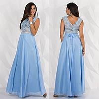 """Голубое длинное вечернее платье из шифона и гипюра """"Лилея"""""""