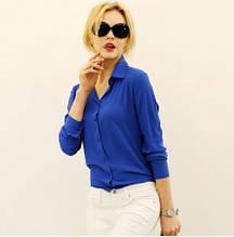Женская синяя блузка с длинным рукавом