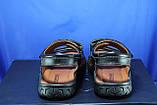 Мужские кожаные сандалии, босоножки на липучках черные Konors, фото 5