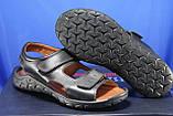 Мужские кожаные сандалии, босоножки на липучках черные Konors, фото 4