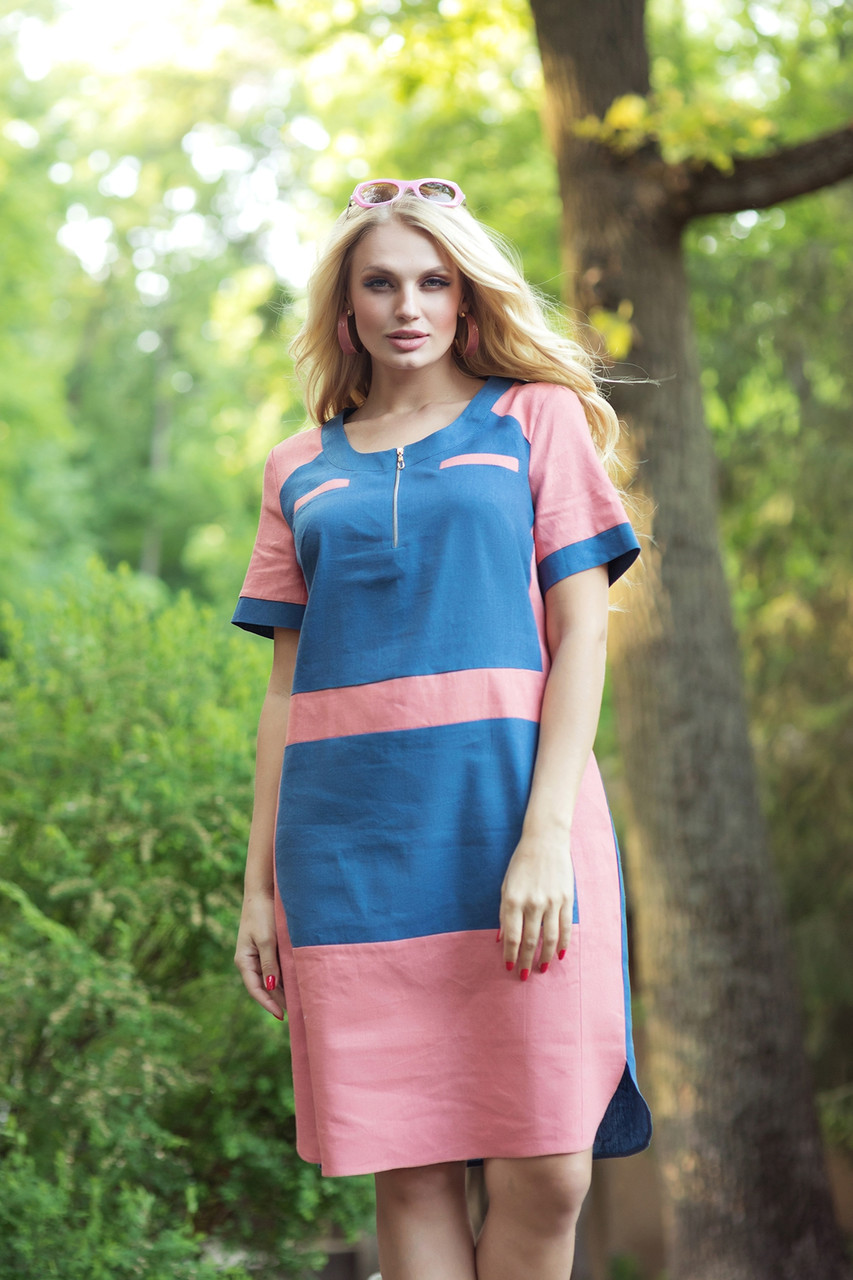 Женское льняное платье больших размеров 50-60