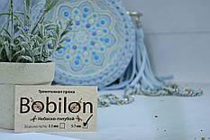 Небесно голубая круглая сумочка с росписью от valissa.handmade