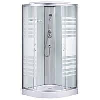 Душевая кабина Sansa 7790A, 90 x 90 см, профиль сатин, стекло прозрачное-lines, заднее стекло белое