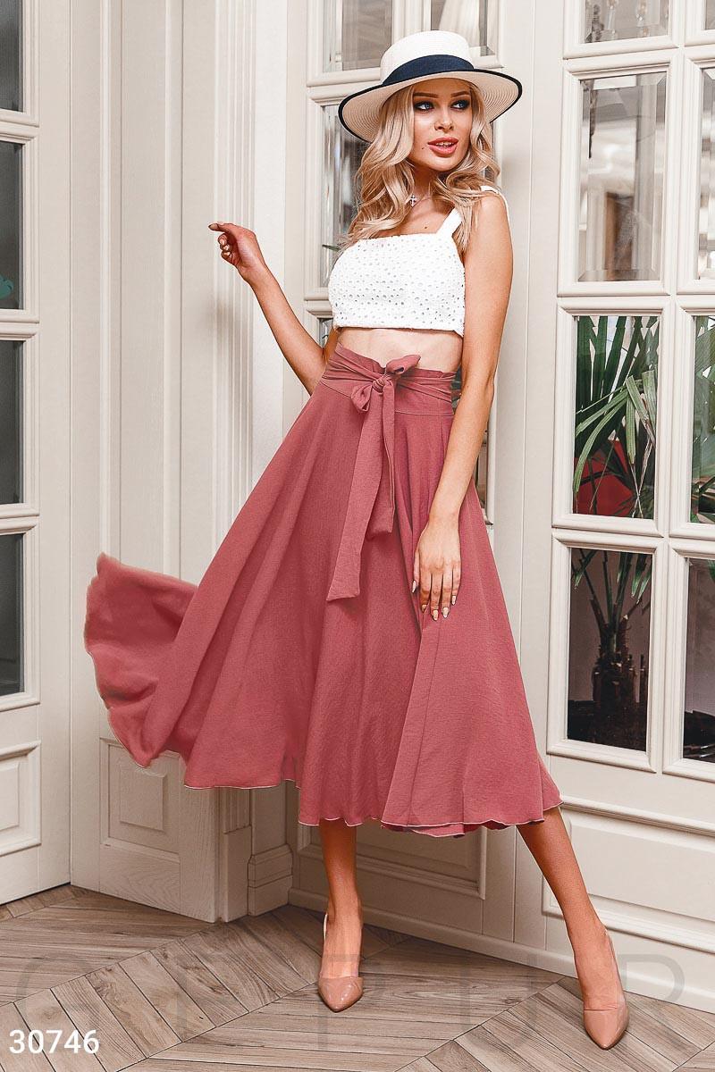 Летняя расклешенная юбка-полусолнце розовая