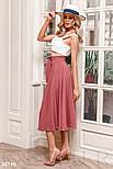 Летняя расклешенная юбка-полусолнце розовая, фото 3