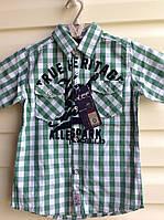 Рубашка в клетку для мальчиков 116,122,128,134,140 роста с коротким рукавом