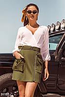Летняя мини юбка из денима с карманами оливковая