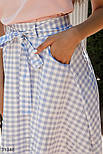 Летняя юбка-полусолнце в клетку голубая, фото 4