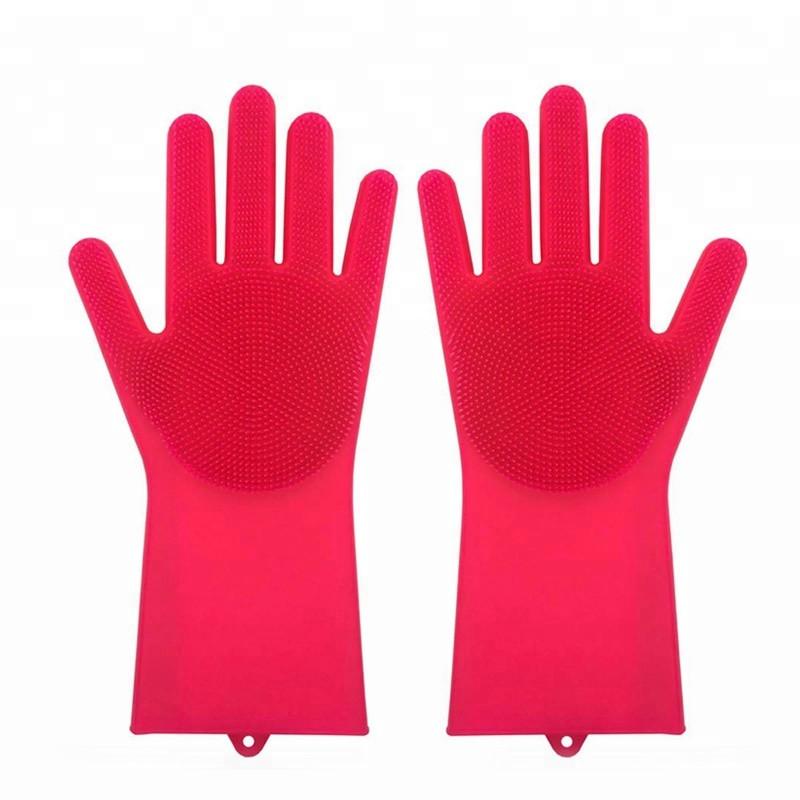 Силиконовые многофункциональные перчатки для мытья и чистки Magic Silicone Gloves Малиновый