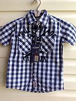 Рубашка для мальчиков 116,122,128,134,140 роста с коротким рукавом в клетку Синяя