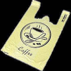 "Пакет майка ""Кофе""  28х49 см, (100шт/уп; 10уп/ящ) 15 мкр"