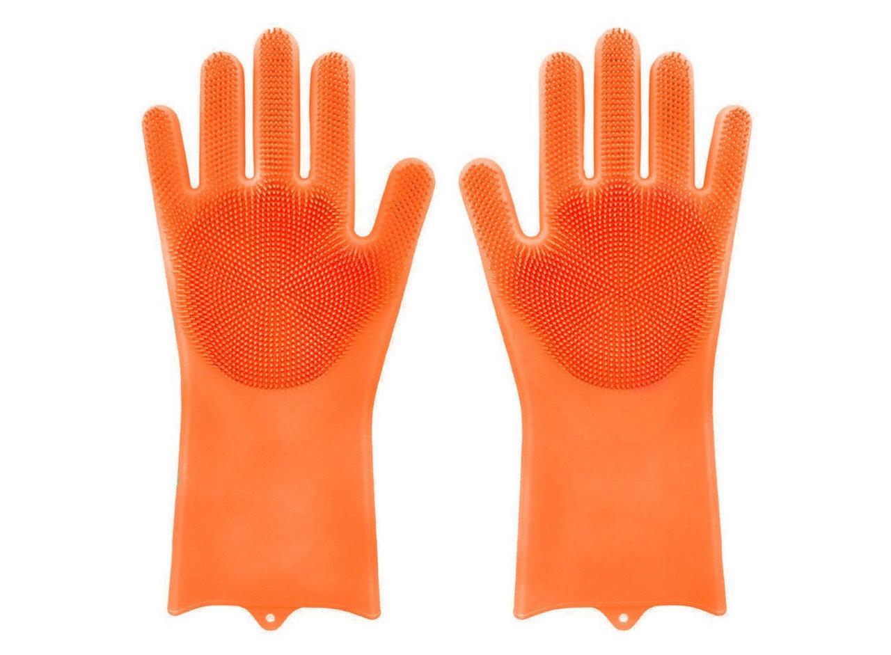 Силиконовые многофункциональные перчатки для мытья и чистки Magic Silicone Gloves Оранжевые