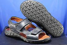 Чоловічі спортивні шкіряні сандалі, босоніжки на липучках сині Konors