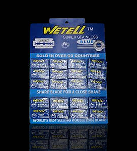 Лезвия Wetell из нержавеющей стали Super Stainless Blue (100 шт на планшете)