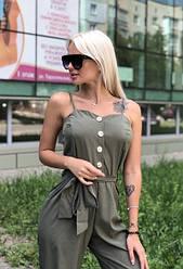 Комбинезон женский летний с укороченными брюками супер софт Хаки