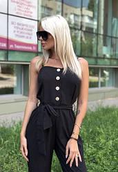 Комбинезон женский летний с укороченными брюками супер софт Черный