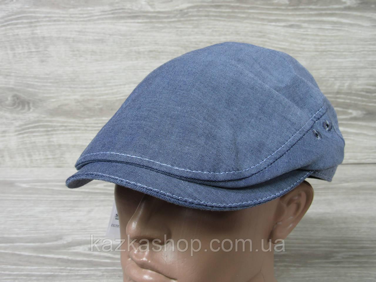 Мужская кепка уточка, пятиклинка, джинсового цвета, однотонная, сезон весна-лето, размеры 56-60 см
