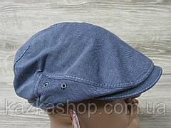 Мужская кепка уточка, пятиклинка, джинсового цвета, однотонная, сезон весна-лето, размеры 56-60 см, фото 3