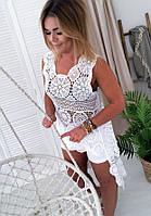 Женская белая ажурная туника-топ с кружевом ОРИГИНАЛ Польша MyLala