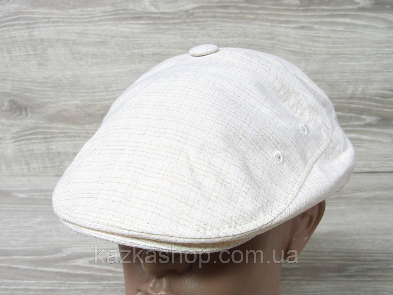 Мужская кепка уточка, пятиклинка, молочного цвета, однотонная, сезон весна-лето, размеры 56-60 см