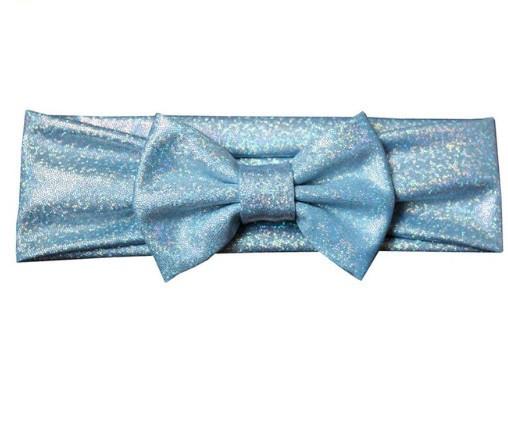 Блестящая светло-голубая детская повязка - окружность 38-44см, бант 10см