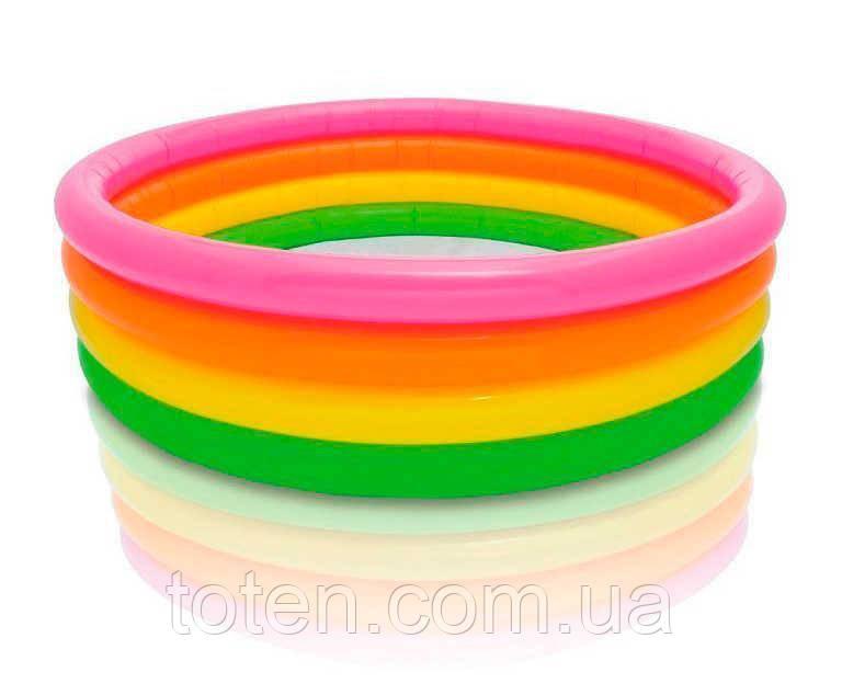 Детский надувной бассейн Intex 56441 пылающий закат, 4 кольца, 617 л, 2,63 кг