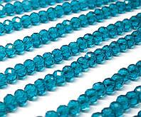 Бусины хрустальные (Рондель)  6х4мм пачка - 95-105 шт, цвет - морская волна прозрачный