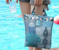 Женская пляжная сумка (Голубая) (123466), фото 3