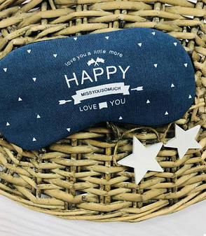 Маска для сна с гелем внутри Happy (Синий) (123860), фото 2